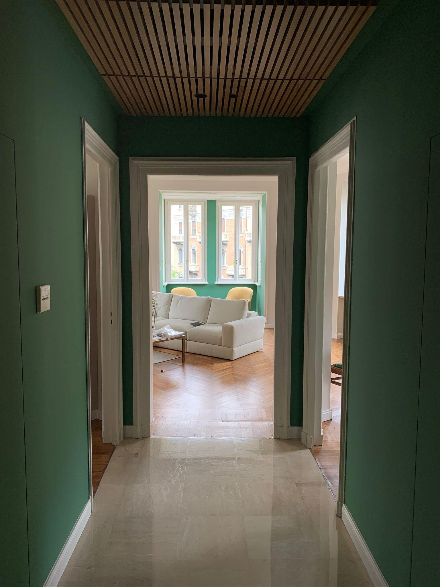 Soffitto in listelli di rovere abitazione privata